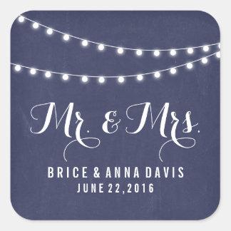 Navy Blue Summer String Light Wedding Stickers