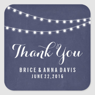 Navy Blue Summer String Light Wedding Thank You Square Sticker