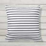 "Navy Blue Summer Stripes Outdoor Pillows<br><div class=""desc"">Navy Blue summer nautical stripes pillows for outdoor use. Made in the USA. Vivid high quality printing. UV and mildew resistant garden or patio pillows in with modern striped designs in vibrant on trend colors. Available in 16&quot; or 20&quot; square and 13&quot; by 21&quot; rectangular sizes. Insert included. (Also available...</div>"