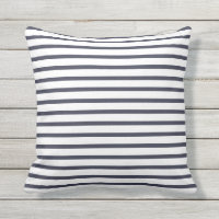 Navy Blue Summer Stripes Outdoor Pillows