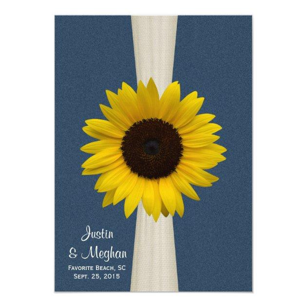 Navy Blue Sunflower And Burlap Wedding Card Zazzle