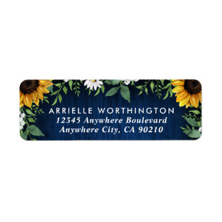 Navy Blue Sunflower Country Wood Rustic Wedding Label