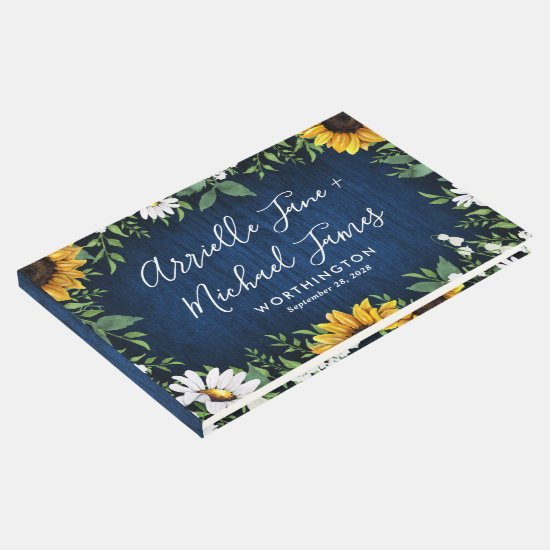Navy Blue Sunflower Rustic Wedding Guest Book