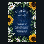 """Navy Blue Sunflower Rustic Wedding Insert Cards<br><div class=""""desc"""">Navy Blue Sunflower Rustic Wedding Insert Cards - feature a navy blue barn wood background decorated with watercolor daisies,  sunflowers,  greenery,  baby's breath,  and lily of the valley.</div>"""