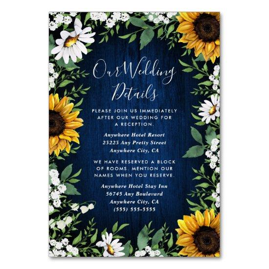 Navy Blue Sunflower Rustic Wedding Insert Cards