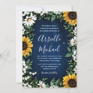 Navy Blue Sunflower Wedding Invitations, Rustic