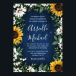 """Navy Blue Sunflower Rustic Wedding Invitations<br><div class=""""desc"""">Navy Blue Sunflower Rustic Wedding Invitations - feature a navy blue barn wood background decorated with watercolor daisies,  sunflowers,  greenery,  baby&#39;s breath,  and lily of the valley.</div>"""