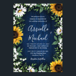 "Navy Blue Sunflower Rustic Wedding Invitations<br><div class=""desc"">Navy Blue Sunflower Rustic Wedding Invitations - feature a navy blue barn wood background decorated with watercolor daisies,  sunflowers,  greenery,  baby&#39;s breath,  and lily of the valley.</div>"