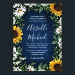 "Navy Blue Sunflower Rustic Wedding Invitations<br><div class=""desc"">Navy Blue Sunflower Rustic Wedding Invitations - feature a navy blue barn wood background decorated with watercolor daisies,  sunflowers,  greenery,  baby's breath,  and lily of the valley.</div>"