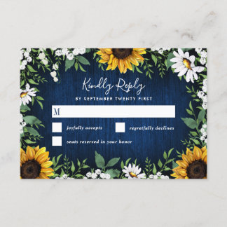 Navy Blue Sunflower Rustic Wedding RSVP Cards