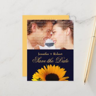 Navy Blue Sunflower Save the Date (yellow back) Announcement Postcard