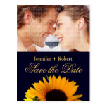 Navy Blue Sunflower Save the Date (yellow back) Postcards
