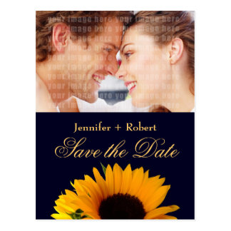 Navy Blue Sunflower Save the Date (yellow back) Postcard