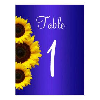 Navy Blue Sunflower Table Card