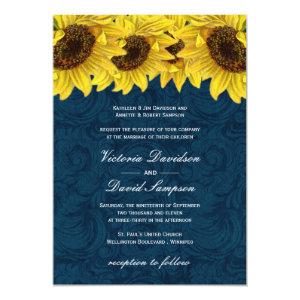 Navy Blue Sunflower Wedding Invitation 5