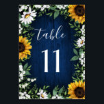 """Navy Blue Sunflower Wedding Table Number Cards<br><div class=""""desc"""">Navy Blue Sunflower Wedding Table Number Cards  - feature a navy blue barn wood background decorated with watercolor daisies,  sunflowers,  greenery,  baby&#39;s breath,  and lily of the valley.</div>"""