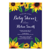 Navy Blue Sunflowers Baby Shower Invitation