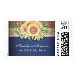 Burlap and Lace Rustic Sunflower Navy Blue Wedding Postage Stamps