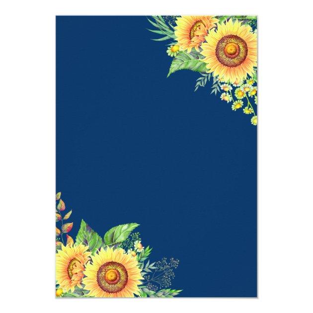 Navy Blue Sunflowers Rustic Romantic Wedding Card (back side)
