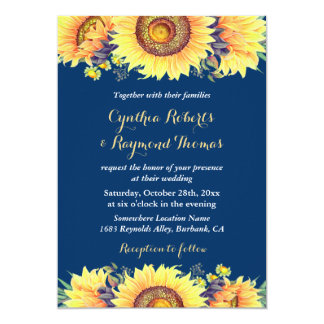 Navy Blue Sunflowers Rustic Romantic Wedding Invitation