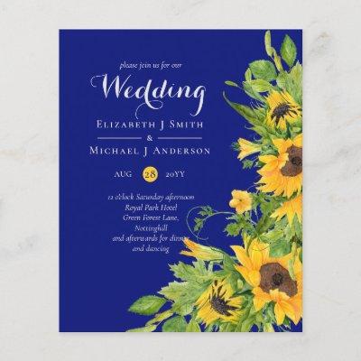 Navy Blue Sunflowers Wedding Invitations Budget