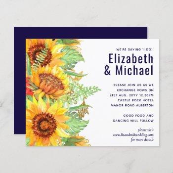 Navy Blue Sunflowers Wedding Modern Budget