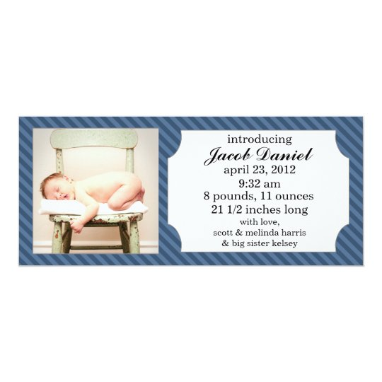 Navy Blue Sweet Stripes Photo Birth Announcements