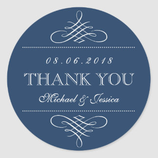 Navy Blue Swirl and Curl Ornament Wedding Stickers