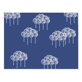 Navy Blue Swirl Rain Clouds Postcard