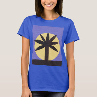 Navy Blue T-Shirt with Palm & Moon Design