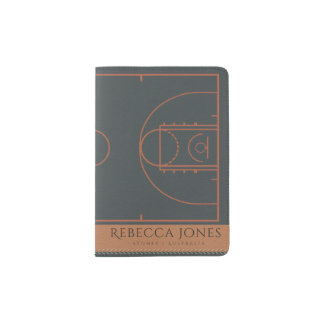 NAVY BLUE TAN BASKETBALL COURT LEATHER MONOGRAM PASSPORT HOLDER
