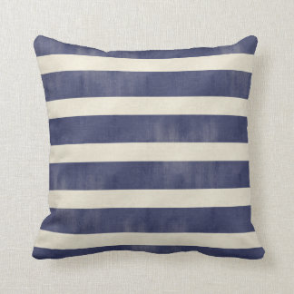 Navy Blue Tan Distressed Wide Stripes Toss Pillow
