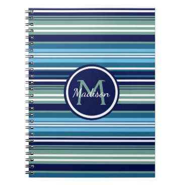 Beach Themed Navy Blue Teal And White Striped Pattern Name Spiral Notebook