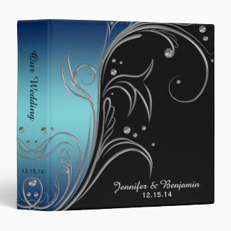 Navy Blue Teal Black Silver Floral Scrolls Album 3 Ring Binder