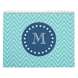 Navy Blue, Teal Chevron Pattern | Your Monogram Calendars