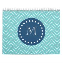 Navy Blue, Teal Chevron Pattern | Your Monogram Calendar