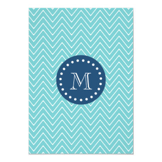 Navy Blue, Teal Chevron Pattern   Your Monogram Card