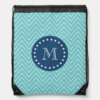 Navy Blue, Teal Chevron Pattern | Your Monogram Cinch Bag