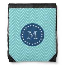 Navy Blue, Teal Chevron Pattern | Your Monogram Drawstring Backpack