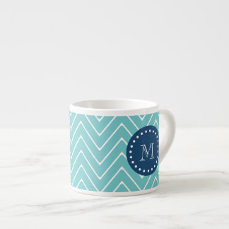 Navy Blue, Teal Chevron Pattern | Your Monogram Espresso Cup