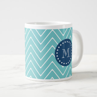 Navy Blue, Teal Chevron Pattern | Your Monogram Giant Coffee Mug