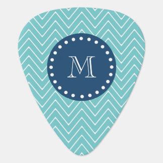 Navy Blue, Teal Chevron Pattern | Your Monogram Guitar Pick