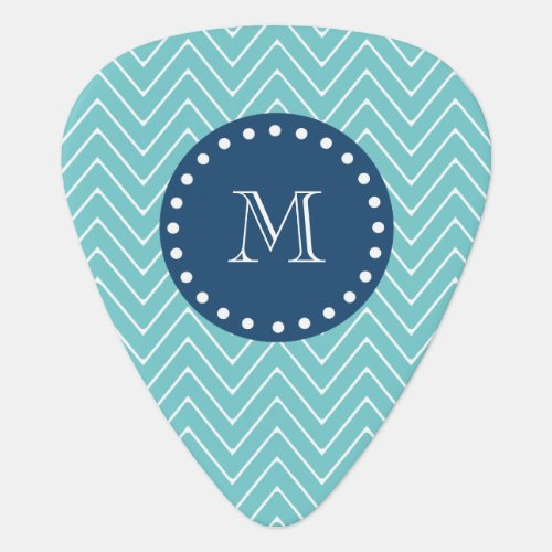Navy Blue Teal Chevron Pattern  Your Monogram Guitar Pick