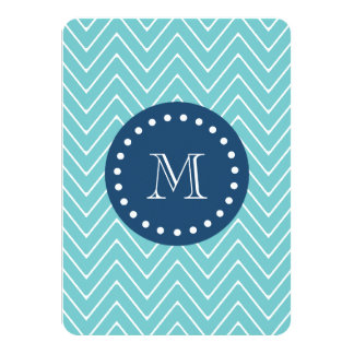 "Navy Blue, Teal Chevron Pattern | Your Monogram 4.5"" X 6.25"" Invitation Card"