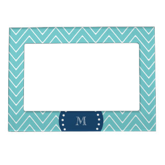 Navy Blue, Teal Chevron Pattern   Your Monogram Magnetic Photo Frame