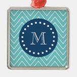 Navy Blue, Teal Chevron Pattern   Your Monogram Metal Ornament
