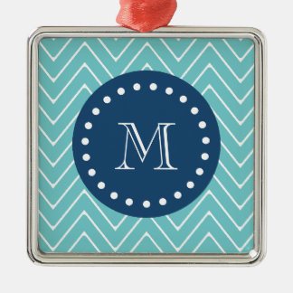 Navy Blue, Teal Chevron Pattern | Your Monogram Metal Ornament