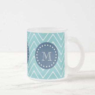 Navy Blue, Teal Chevron Pattern | Your Monogram 10 Oz Frosted Glass Coffee Mug