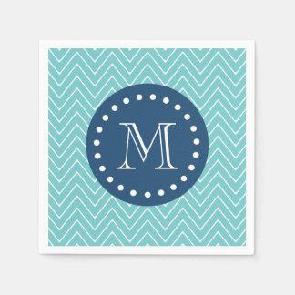 Navy Blue, Teal Chevron Pattern | Your Monogram Napkin