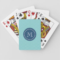 Navy Blue, Teal Chevron Pattern | Your Monogram Playing Cards